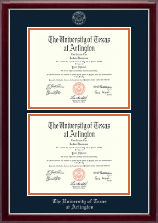 The University of Texas Arlington (UTA) Diploma Frame - Double Diploma Frame in Gallery Silver