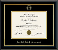 Maine Society of Certified Public Accountants Diploma Frame - Gold Embossed Diploma Frame in Onyx Gold