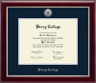 Berry College Diploma Frame - Silver Engraved Medallion Diploma Frame in Gallery Silver