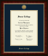 Snow College Diploma Frame - Gold Engraved Medallion Diploma Frame in Murano