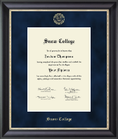 Snow College Diploma Frame - Gold Embossed Diploma Frame in Noir