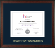 Human Resource Certification Institute Certificate Frame - Gold Embossed Certificate Frame in Studio