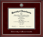 University of Massachusetts Amherst Diploma Frame - Pewter Masterpiece Medallion Diploma Frame in Kensington Silver