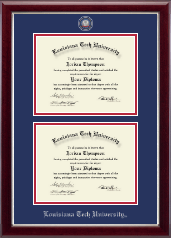 Louisiana Tech University Diploma Frame - Masterpiece Medallion Double Diploma Frame in Gallery Silver