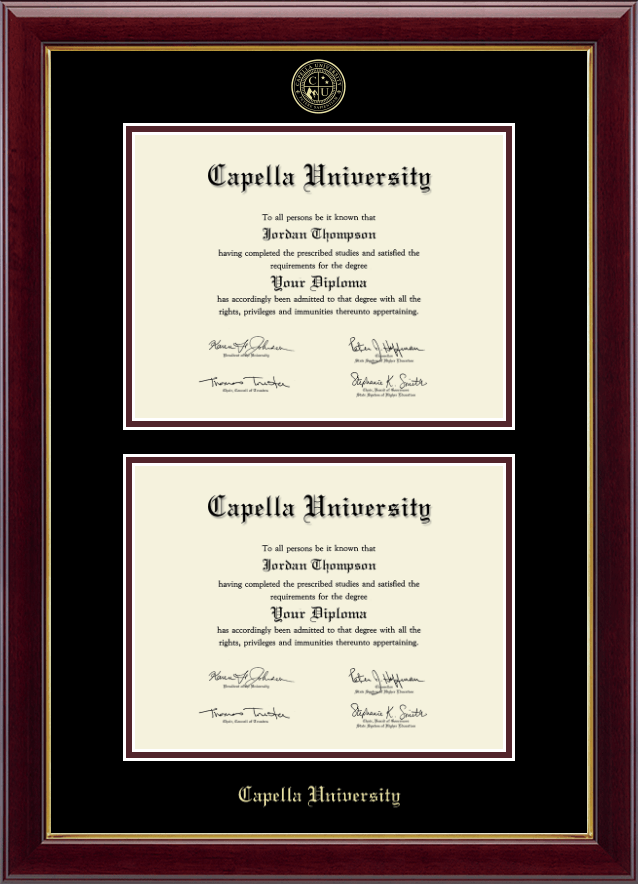 Capella University Double Diploma Frame In Gallery Item