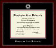 Washington State University Diploma Frame - Silver Engraved Medallion Diploma Frame in Sutton