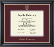 Capella University Diploma Frame - Gold Embossed Diploma Frame in Noir