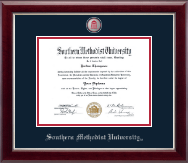 Southern Methodist University Diploma Frame - Masterpiece Medallion Diploma Frame in Gallery Silver