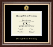Wesley Biblical Seminary Diploma Frame - Gold Engraved Medallion Diploma Frame in Hampshire