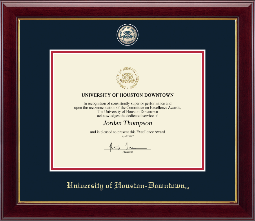 University of Houston Downtown Masterpiece Medallion Certificate ...