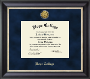 Hope College Diploma Frame - Gold Engraved Medallion Diploma Frame in Noir