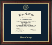 Hope College Diploma Frame - Gold Embossed Diploma Frame in Studio Gold