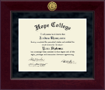 Hope College Diploma Frame - Millennium Gold Engraved Diploma Frame in Cordova