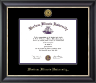 Western Illinois University Diploma Frame - Gold Engraved Medallion Diploma Frame in Noir