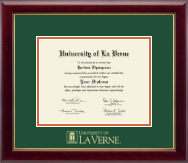 University of La Verne Diploma Frame - Gold Embossed Diploma Frame in Gallery
