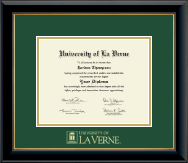 University of La Verne Diploma Frame - Gold Embossed Diploma Frame in Onyx Gold