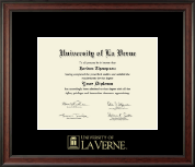 University of La Verne Diploma Frame - Gold Embossed Diploma Frame in Studio