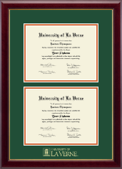University of La Verne Diploma Frame - Double Diploma Frame in Gallery