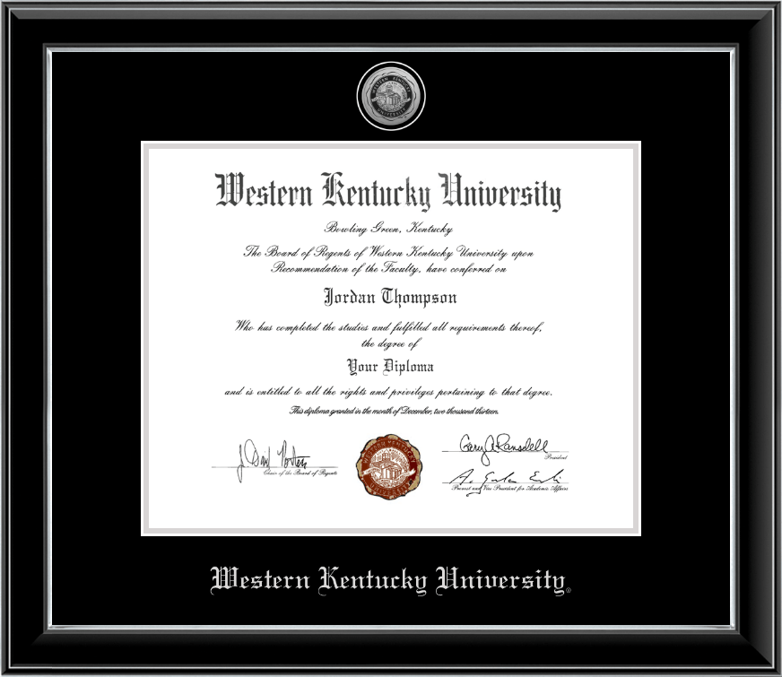 Western Kentucky University PhD - Silver Engraved Medallion Diploma ...