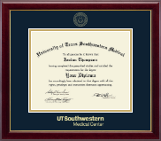 University of Texas Southwestern Medical Center Diploma Frame - Gold Embossed Diploma Frame in Gallery