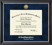 University of Texas Southwestern Medical Center Diploma Frame - Gold Engraved Medallion Diploma Frame in Noir