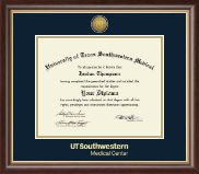 University of Texas Southwestern Medical Center Diploma Frame - Gold Engraved Medallion Diploma Frame in Hampshire