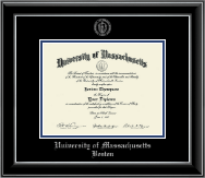 University of Massachusetts Boston Diploma Frame - Silver Embossed Diploma Frame in Onyx Silver