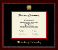 Wittenberg University  Diploma Frame - Gold Engraved Medallion Diploma Frame in Sutton