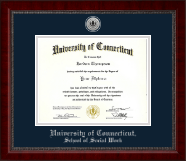 University of Connecticut School of Social Work Diploma Frame - Silver Engraved Medallion Diploma Frame in Sutton