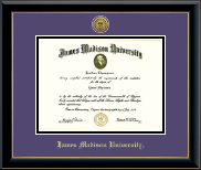 James Madison University Diploma Frame - Gold Engraved Medallion Diploma Frame in Onyx Gold