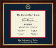 The University of Tulsa Diploma Frame - Gold Embossed Diploma Frame in Murano