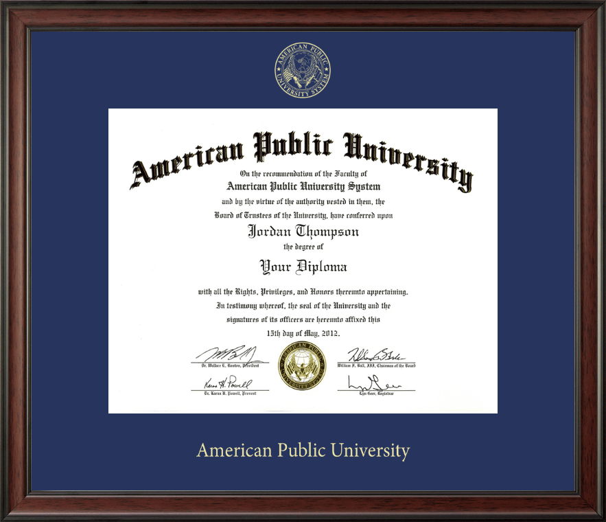 American Public University Gold Embossed Diploma Frame In