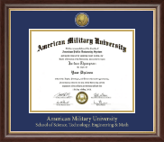 American Military University Diploma Frame - Gold Engraved Medallion Diploma Frame in Hampshire