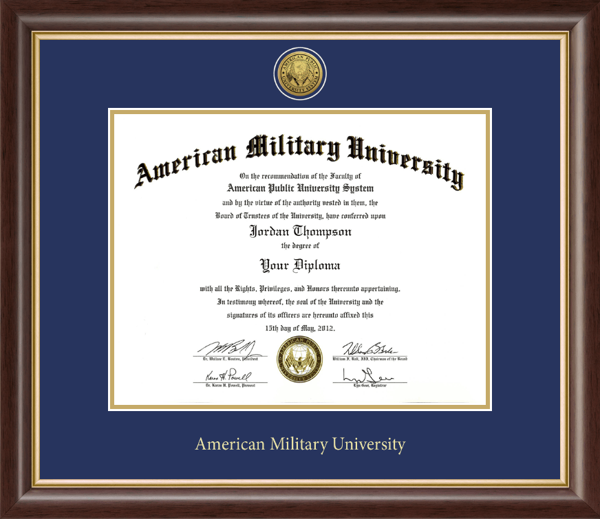 american military university gold engraved medallion diploma frame  american military university gold engraved medallion diploma frame in hampshire item 271009 from american public university system