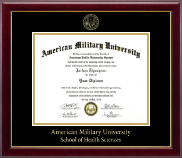 American Military University Diploma Frame - Gold Embossed Diploma Frame in Gallery