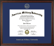 American Military University Diploma Frame - Gold Embossed Diploma Frame in Studio