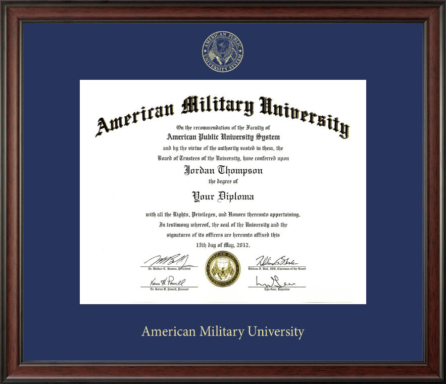 American Military University Gold Embossed Diploma Frame