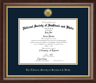 The National Society of Scabbard & Blade Certificate Frame - Gold Engraved Medallion Certificate Frame in Prescott