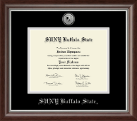 Buffalo State College Diploma Frame - Silver Engraved Medallion Diploma Frame in Devonshire