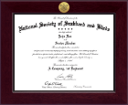 The National Society of Scabbard & Blade Certificate Frame - Century Gold Engraved Certificate Frame in Cordova