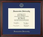 Immaculata University Diploma Frame - Gold Embossed Diploma Frame in Studio