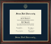 Seton Hall University Diploma Frame - Gold Embossed Diploma Frame in Studio Gold