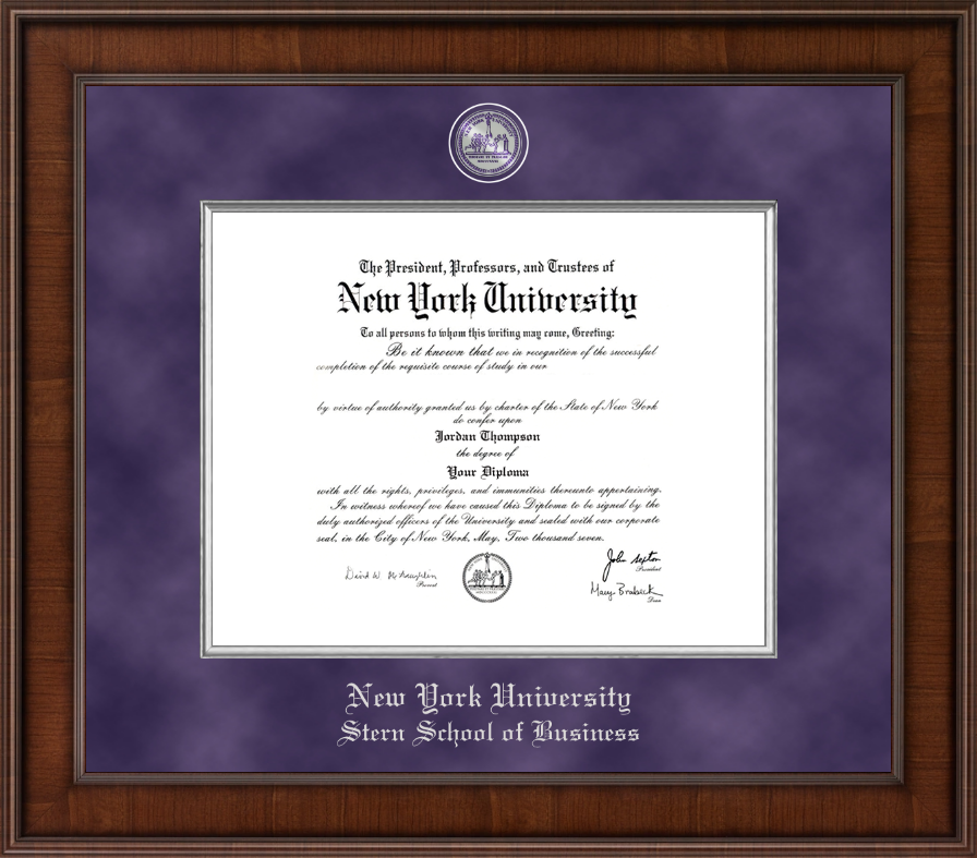 Nyu diploma frames for stern school of business church hill classics new york university diploma frame presidential masterpiece diploma frame in madison reheart Images