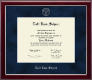 Taft Law School Diploma Frame - Silver Embossed Diploma Frame in Gallery Silver
