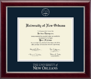 University of New Orleans Diploma Frame - Silver Embossed Diploma Frame in Gallery Silver