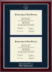 University of New Orleans Diploma Frame - Double Diploma Frame in Gallery Silver
