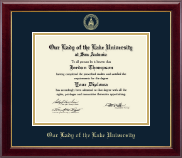 Our Lady of the Lake University Diploma Frame - Gold Embossed Diploma Frame in Gallery