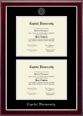 Capital University Diploma Frame - Double Diploma Frame in Gallery Silver