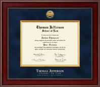 Thomas Jefferson School of Law Diploma Frame - Presidential Gold Engraved Diploma Frame in Jefferson