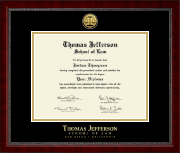 Thomas Jefferson School of Law Diploma Frame - Gold Engraved Medallion Diploma Frame in Sutton
